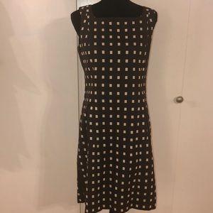 Ann Taylor | Brown and cream sleeveless dress